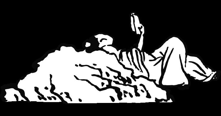 Illustration d'un personnage lisant un livre