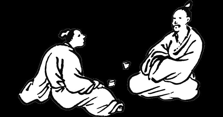 Illustration de deux personnages discutant