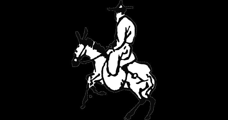Illustration d'un personnage montant un âne