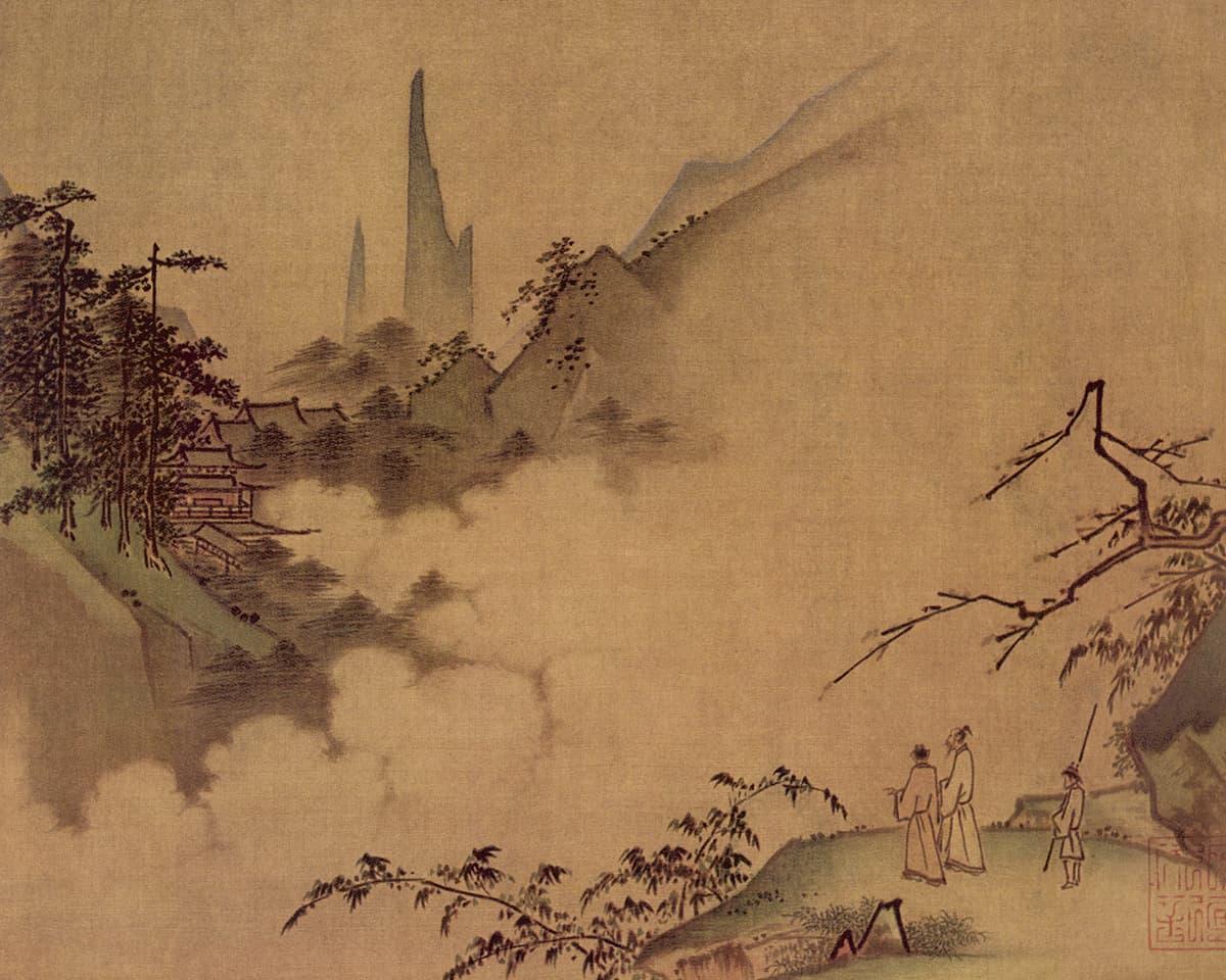 Peinture de deux poètes devant un paysage de montagnes
